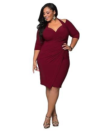 Kiyonna Women\'s Plus Size Foxfire Faux Wrap Dress 4X Merlot at ...