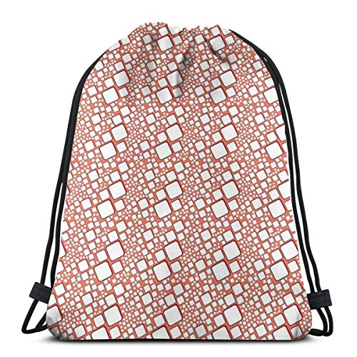 2019 Funny Printed Drawstring Backpacks Bags,Ornamental Squares With Oval Corners In Various Shapes Geometric Pattern,Adjustable String Closure -