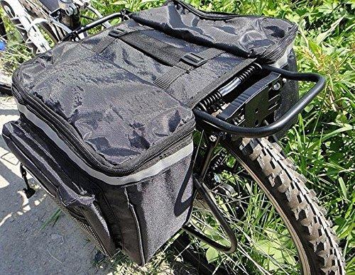 Yosoo Super Large Capacity Bicycle Double Sides Pannier Bag, Multifunctional Waterproof Cycling Seat Bag Rack Rear Bicycle Tail Bag Bike Carrier Trunk (black)