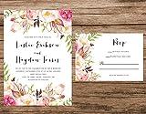 Watercolor Floral Wedding Invitation, Peach Flowers Wedding Invitation, Boho Wedding Invitation