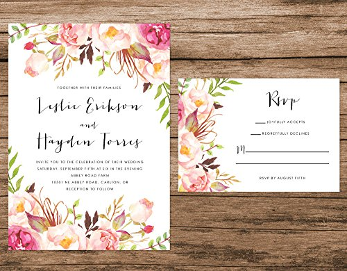 Watercolor Floral Wedding Invitation, Peach Flowers Wedding Invitation, Boho Wedding Invitation by Alexa Nelson Prints
