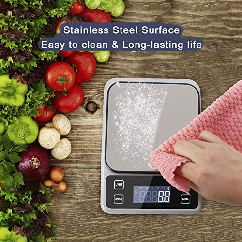 Digital Food Scale Weight Grams and oz., 11lb Rechargeable Kitchen Scale for Cooking Baking, 0.1g/0.001oz Precise Graduation,Tare Function, 7 Units Large Backlit LCD Display, Easy Clean Stainless Steel