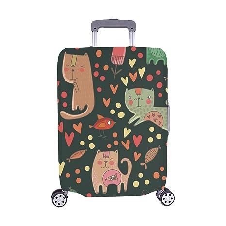 Gatos Infantiles Peces Spandex Maleta con Ruedas Maleta Protectora para Equipaje de Viaje Cubierta 28.5 X