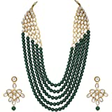 CATALYST Wedding Collection Green 5 Layer Faux Mother-of-pearl and Kundan Rani Haar Necklace Jewellery Set with Earrings for Women