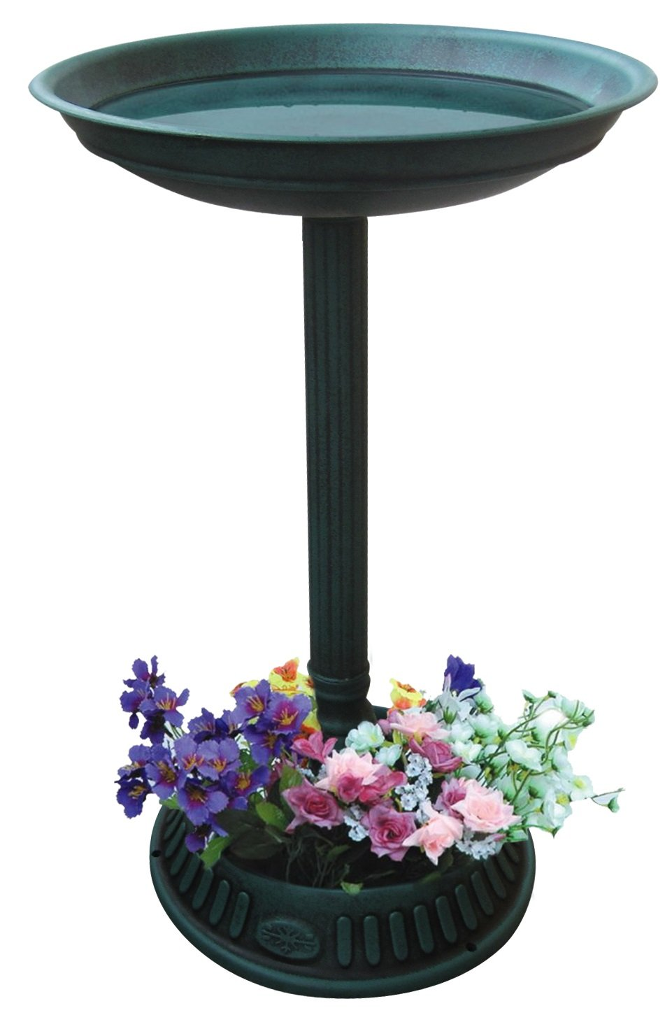 Alpine TIZ112 25 Birdbath with Planter Pedestal, Green