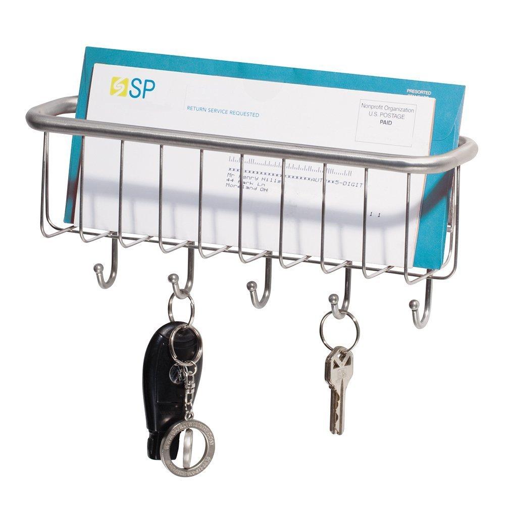 Color blanco Soporte de pared con bandeja para cartas y papeles y con ganchos para llaveros mDesign Organizador de correo y colgador de llaves