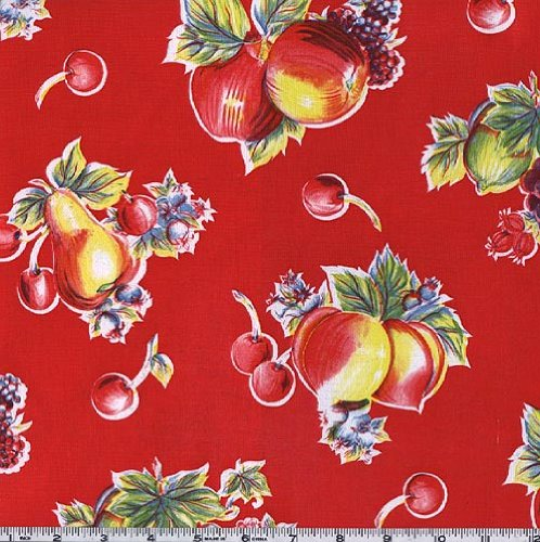 (Oilcloth International Oil Cloth Pears & Apples Red Fabric By The Yard)