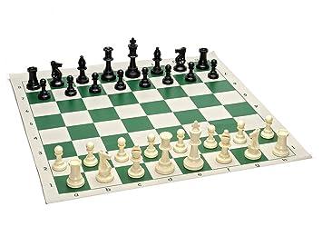 Kids Mandi Plastic Tournament Chess Set with Roll-Up Vinyl Mat and Filled Chessmen (Green, 17 x 17)