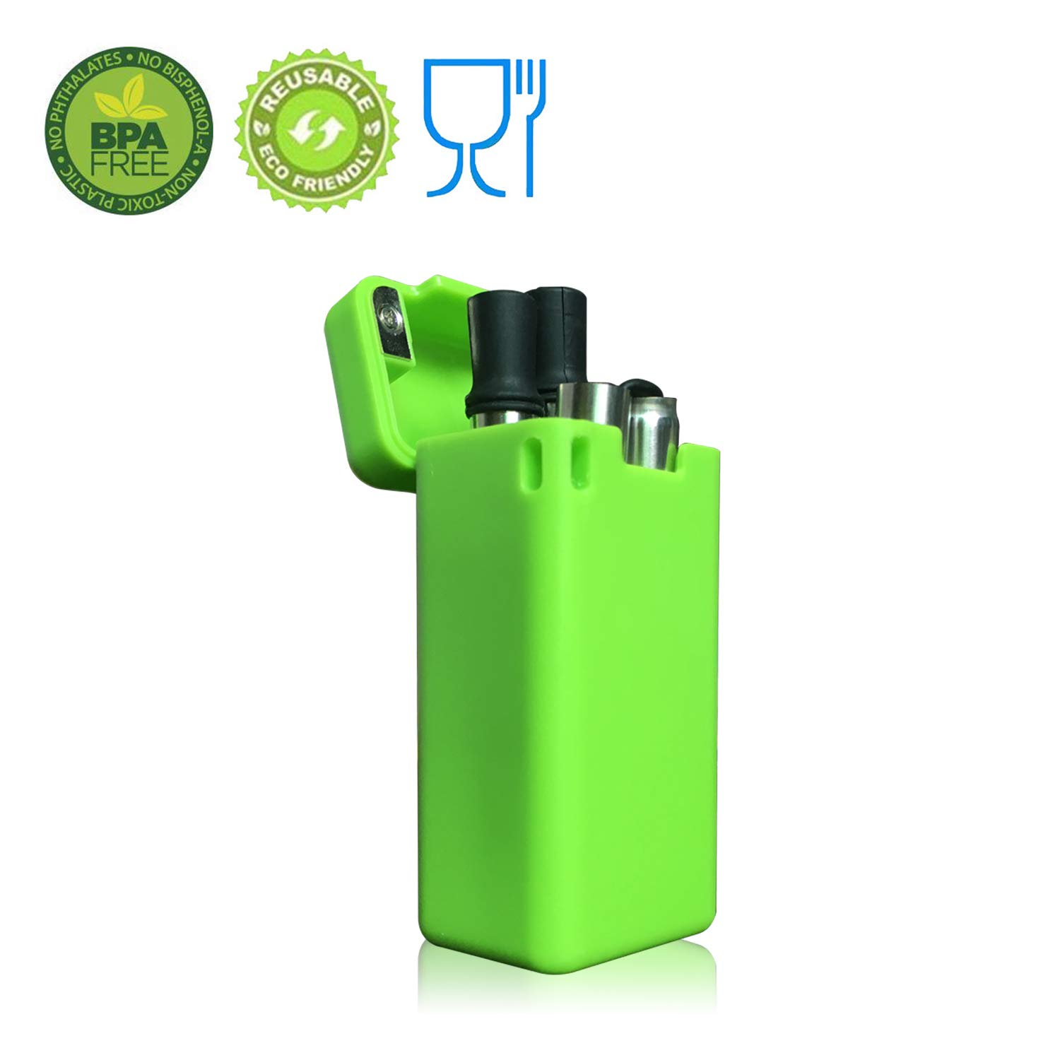 Collapsible Drinking Straw Reusable Folding Safety Raw Materials Meet Medical-Grade Food-Grade Collapsible Portable Stainless Straw with Hard Case Cleaning Brush (Green)