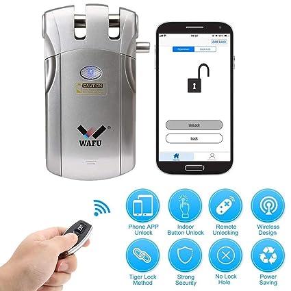 WAFU Cerradura de puerta de entrada sin llave inteligente de estilo americano Cerraduras inalámbricas antirrobo Bluetooth