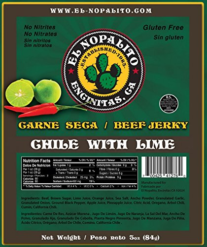 El Nopalito Beef Jerky - Cattle Sourced from CA - Gluten and Nitrate/Nitrite Free High Protein Snack - Made in the USA - Chili with -