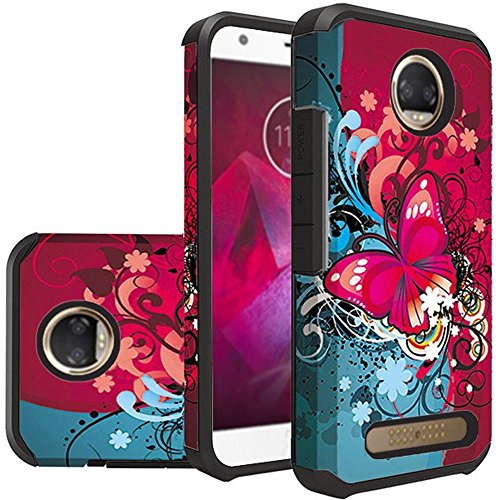 [ Storm Buy ] Butterfly Series Sturdy Durable Hybrid Dual Layer Phone Case Cover For [ Motorola Moto Z2 Force, Moto Z2 Play, Moto Z Force Edition 2nd Gen ] (Butterfly Bliss)