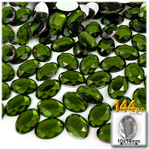 The Crafts Outlet 144-Piece Flat Back Oval Rhinestones, 14mm, Olive Green