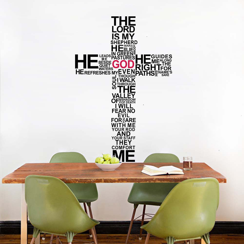 DNVEN 24 inches x 35 inches Big Cross The Lord is My Shepard Removable Wall Stickers Vinyl Wall Decals for Bedrooms…