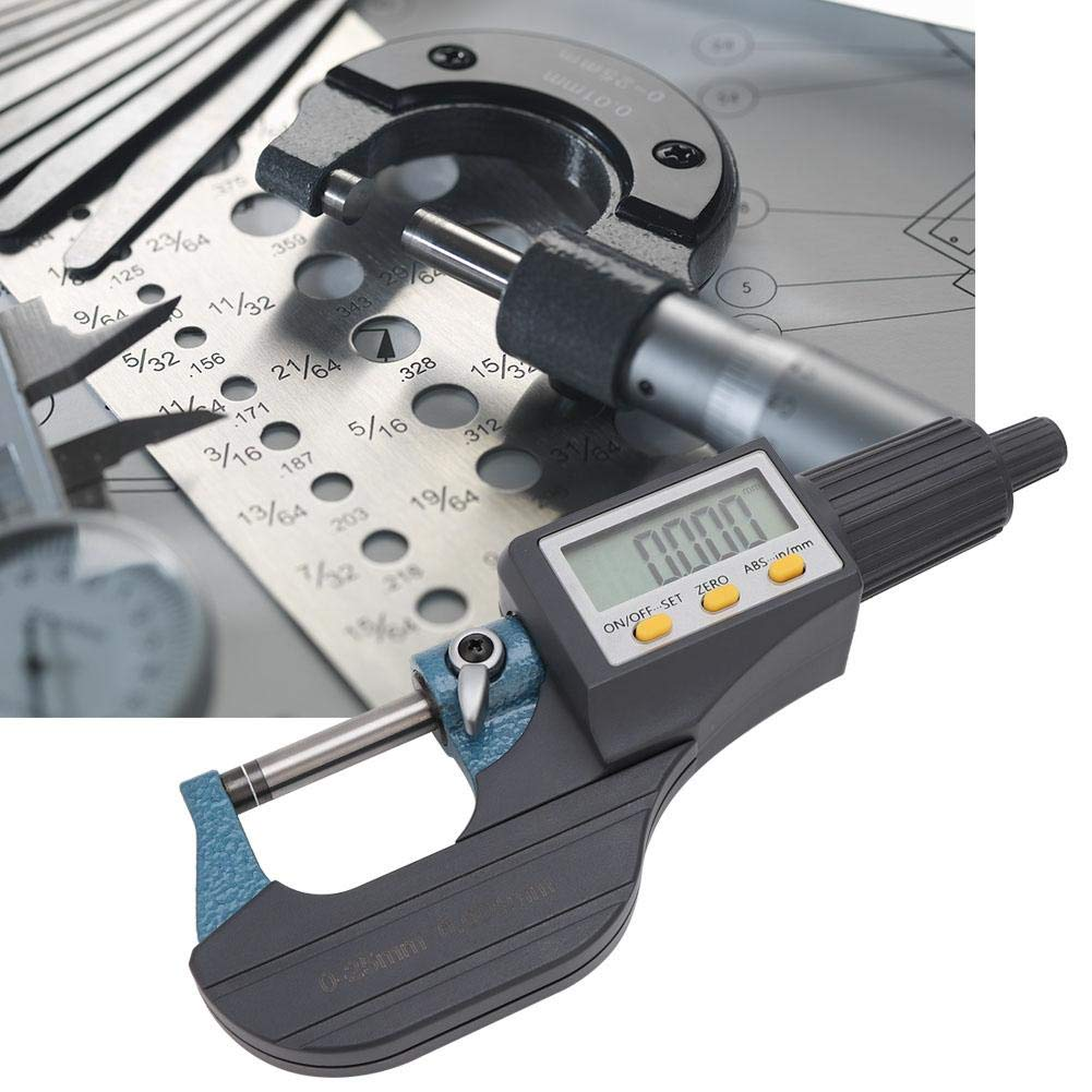 Digital Display Micrometer 0.001mm Resolution High Accuracy Low Error Chrome Plated Alloy Digital Display Micrometer for Length Diameter Thickness 0-25mm