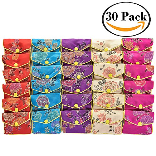 Flowers Jade Necklace (handrong 30PCS Jewelry Silk Purse Pouch Small Jewellery Gift Bag Chinese Brocade Embroidered Coin Organizers Pocket with Snap and Zipper Closure for Women Girls Necklaces Earrings Bracelets)
