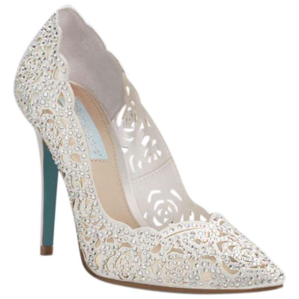 David's Bridal Crystal Embellished Laser-Cut Pointed Toe Pumps Style SBEMILY, Ivory, 7.5