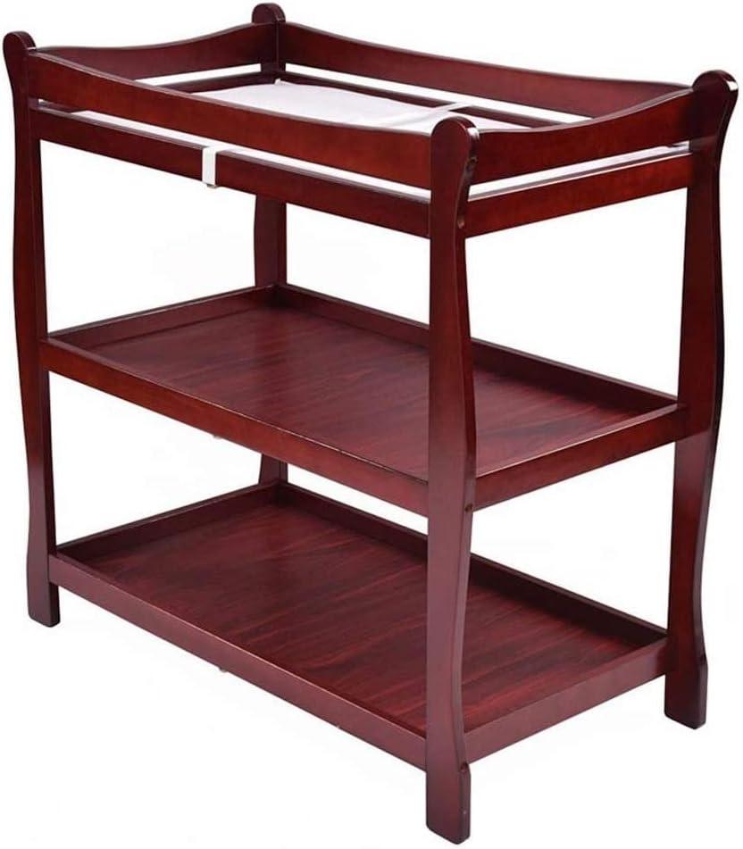 HIZLJJ 赤ちゃんは、表編成を変更する表、幼児おむつ保育園駅、新生児、そりスタイル保育園ドレッサー、テーブルを変更する2つの固定棚を変更します (Color : Red)