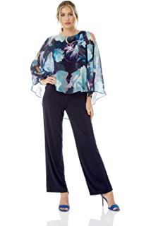 ee3c9ccfaec Roman Originals Women Floral Chiffon Overlay Jumpsuit - Ladies Long Sleeve  Long Leg Length…