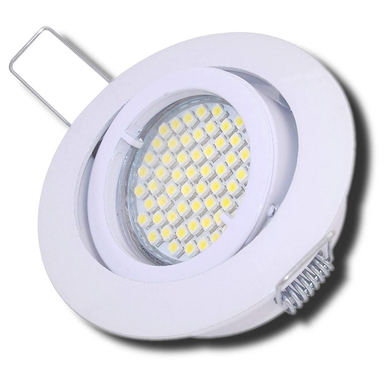 4 Stück SMD LED Einbaustrahler Laura 230 Volt 5 Watt Step Dimmbar Schwenkbar Weiß Warmweiß