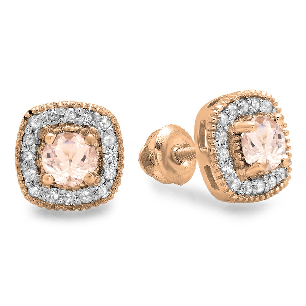 Rose Gold Plated Sterling Silver Round Cut Morganite & White Diamond Ladies Halo Stud Earrings