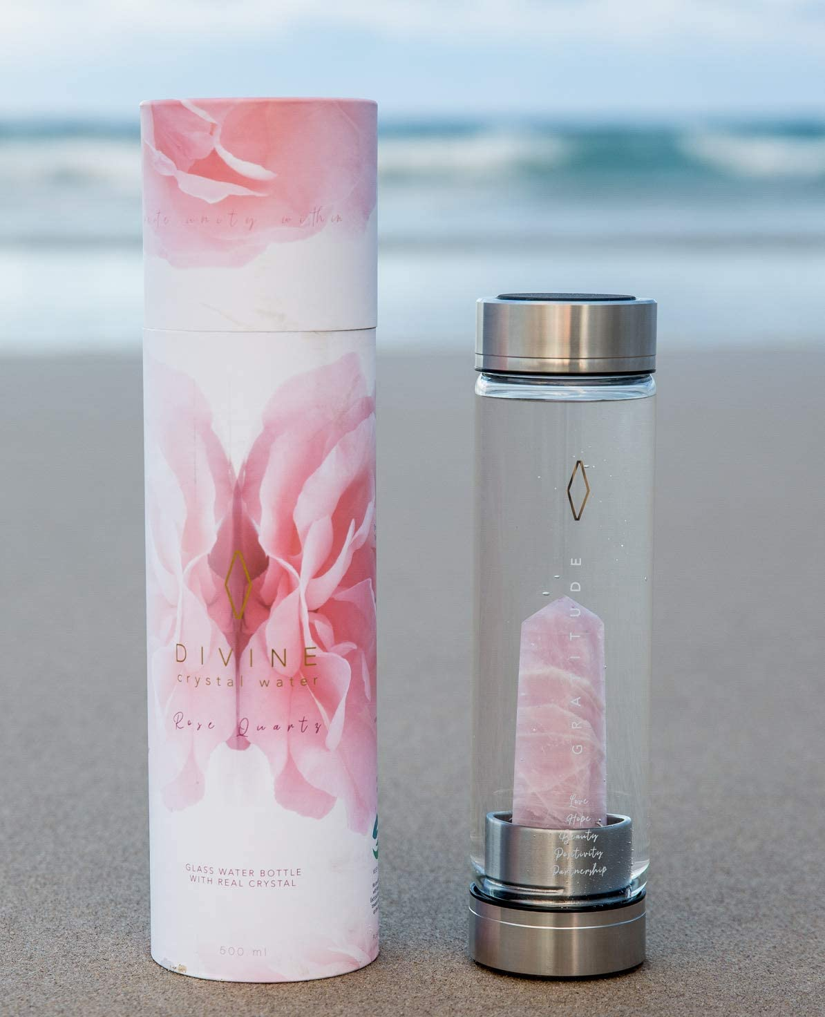 Rose Quartz Crystal Water Bottle for Healing and Wellness - Beautiful Quality Glass Bottle, Gold engraving: benefits of crystal & healing power of GRATITUDE. Portable use, Large Crystals. Gift Ready.