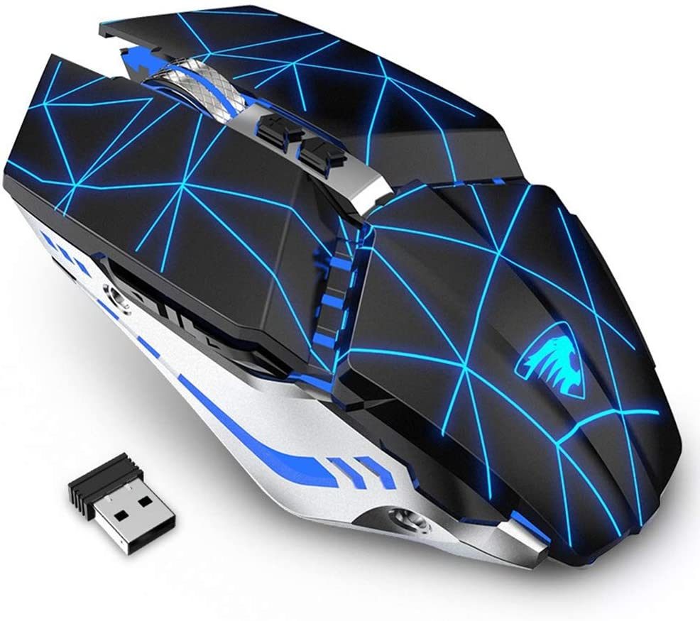TENMOS T12 Wireless Gaming Mouse Rechargeable, 2.4G Silent Optical Wireless Computer Mice with Changeable LED Light Compatible with Laptop PC, 7 Buttons, 3 Adjustable DPI (Starry Black)