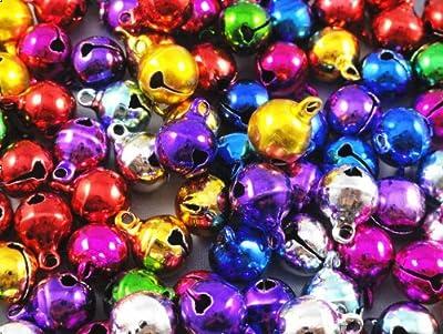 YAKA 100pcs Mix Jingle Christmas Bells Loose Beads Charms Jewelry Marking 10mm