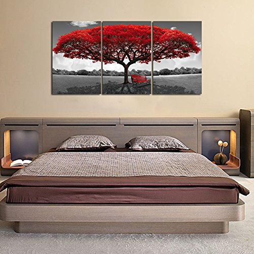 LKY ART Wall Art 3 Panel Red Tree Oil Painting Abstract Art Wall Scenery Picture For Living Room Wall Decor Oil Paintings Framed Stretched Easy To Hang 24x48Inch