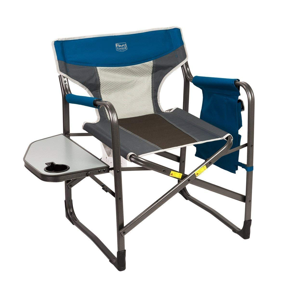 Timber Ridge Director's Chair Oversize Portable Folding Support 300lbs Utility Lightweight for Camping Breathable Mesh Back with Side Storage Bag, Side Table by Timber Ridge