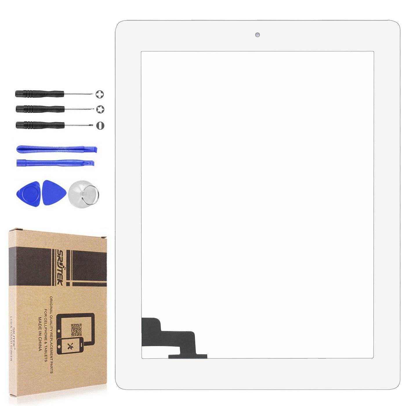 srjtek Touch Screen Digitizer for IPad 2 A1397 A1395 A1396,Replacement Parts Home Button + Cameral Holder + Pre-installed Adhesive + Middle Frame Bezel,Professional Tools Include(White)
