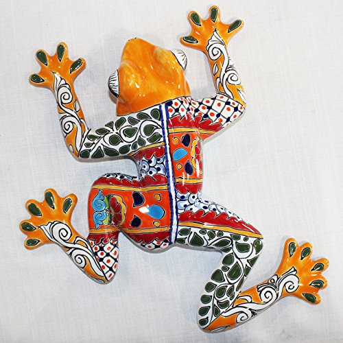 Talavera Medium Wall Frog - 15'' W X 15.5'' L (Yellow Body) by Tierra Fina