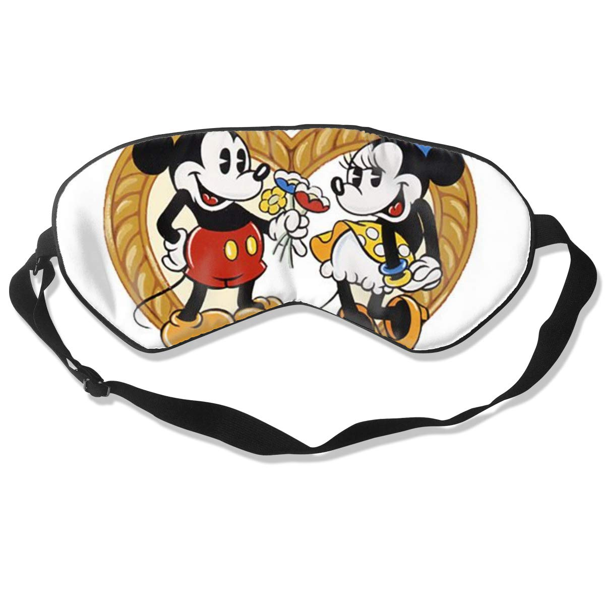 JINUNNU Mulberry Silk Sleep Mask and Blindfold Mickey Love Minnie Comfortable and Super Smooth Eye Mask with Adjustable Strap