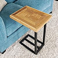 WELLAND Sofa Snack Side End Table With Old Elm Wood Top