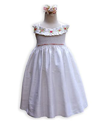 6e33b3355 Amazon.com  Special Occasion Silk Dress with Smocking for a Flower ...