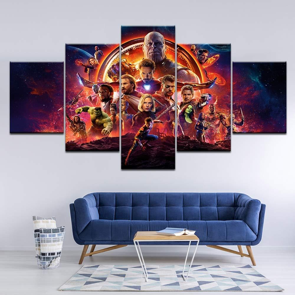 Kljdfks Moderno Lona Impresiones HD Marvel Avengers Infinity War Imagen Los Carteles Decoraci/ón del hogar Pintura Mural de la Pared 5 Paneles,A,20/×35/×2+20/×45/×2+20/×55/×1