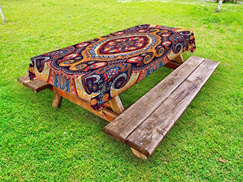Ambesonne Paisley Outdoor Tablecloth, Arabic Style Ornamental Rug Pattern Inspired Design with Flowers and Leaves, Decorative Washable Picnic Table Cloth, 58 X 104 inches, Multi - Paisley Accessories
