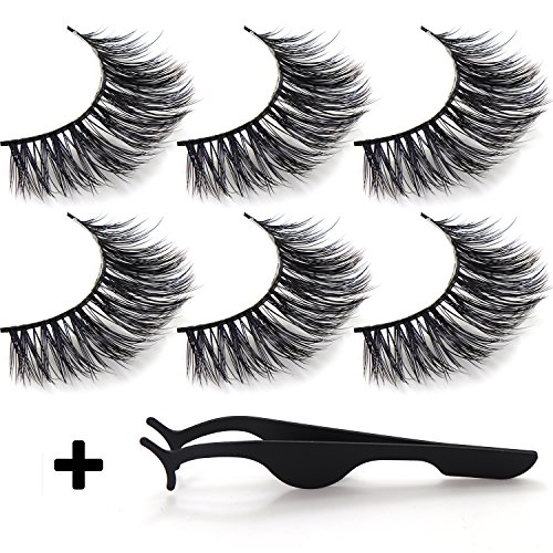 False Eyelashes 3D Attractive Handmade Reusable Long Cross Fiber Natural Black Thick Hair, Attractive Wispy Fake Eye Lashes Style Extension for Women's Makeup With Strip And Tweezer (3 - False Hair Real Eyelashes