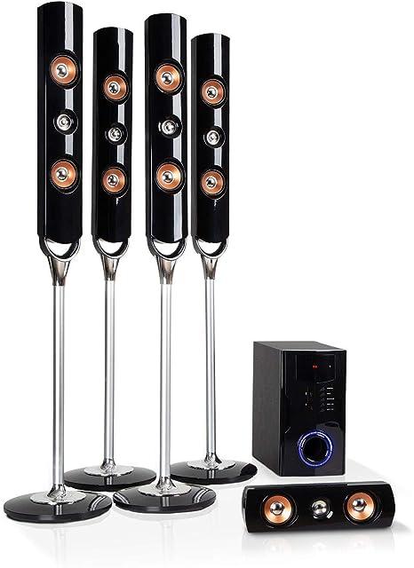 auna Areal Nobility Equipo 5.1 de Sonido Envolvente - Home Cinema, Equipo 5.1, 120 W de Potencia Media, Subwoofer de 35 W, Altavoces, Bluetooth 3.0, USB, SD, AUX, Pantalla LED, Negro: Amazon.es: Electrónica