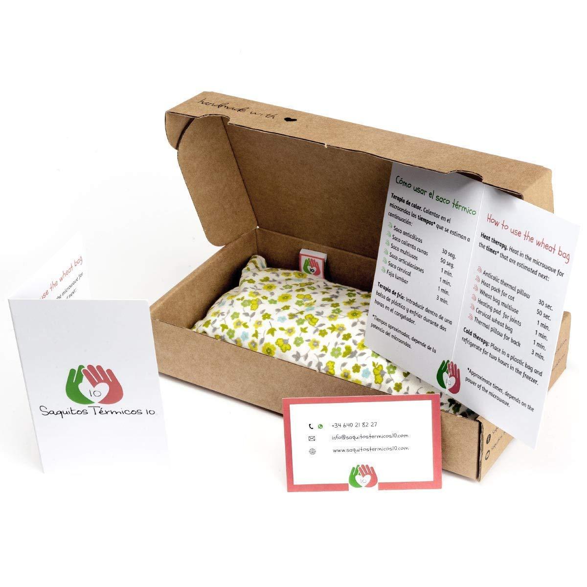 Saco termico de semillas para calentar la cuna de los beb/és Almohada para microondas con funda lavable en tela de algodon 100/% y suave olor a lavanda ST10 25x10cm Corazones