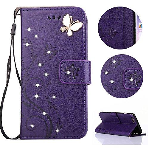 sycode funda para Galaxy A32017, funda estilo cartera para Galaxy A32017, funda con tapa para Samsung Galaxy A32017, grabado, mariposas y flores DIY Premium piel sintética lujo Bling purpurina cris Diamond Butterfly Flower Purple