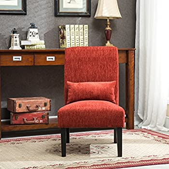 Roundhill Furniture AC160RD Red Pisano Chenille Fabric Armless Contemporary Accent Chair with Matching Kidney Pillow