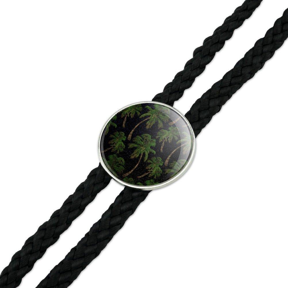 Palm Trees Night Sky Pattern Western Southwest Cowboy Necktie Bow Bolo Tie