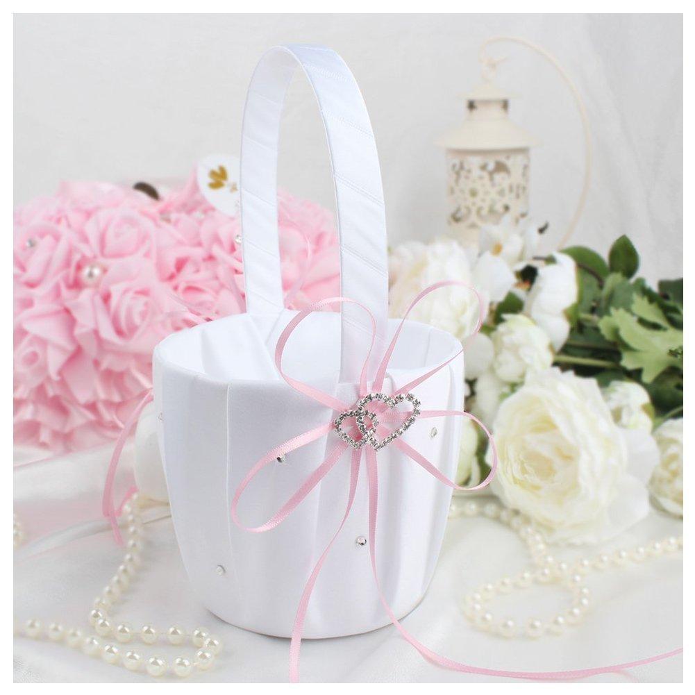 Amazon Toogoor Double Heart Wedding Flower Girl Basket White