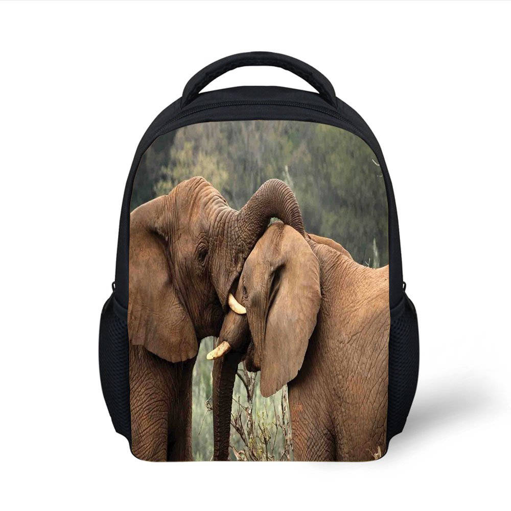 iPrint Kids School Backpack Safari Decor,Two Wild Savanna Elephants Wrestling Cute Nature Icons South African Animals Game Photo,Brown Green Plain Bookbag Travel Daypack
