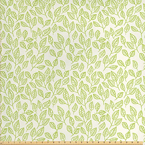 Green Tea Fabric (Leaves Decor Fabric by the Yard by Ambesonne, Watercolor Green Tea Leaves and Branches Lines and Patterns Contemporary Illustration , Decorative Fabric for Upholstery and Home Accents, Green Ecru)