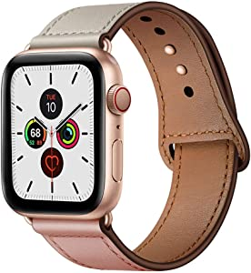 YALOCEA Compatible with Apple Watch Band 42mm 44mm, Genuine Leather Band Replacement Strap Compatible with iWatch Series 6 5 4 3 2 1 SE 44mm 42mm, Pink Beige Band + Rose Gold Adapter