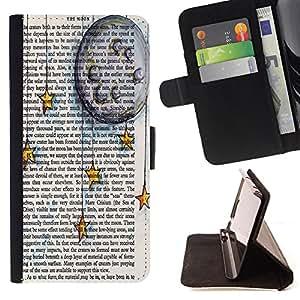 King Case - FOR Samsung Galaxy A3 - stars in the book - Prima caja de la PU billetera de cuero con ranuras para tarjetas, efectivo Compartimiento desmontable y correa para la mu?eca