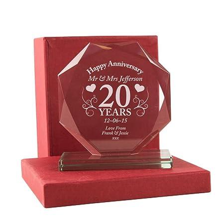 20th Wedding Anniversary Gift Personalised Glass China Wedding