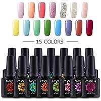 COSCELIA 15pcs Nail Art Gel Polish 10ml UV Nail Gel Polish Soak Off Varnish Manicure Kit
